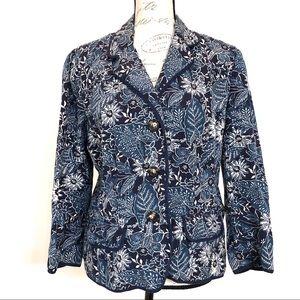 Eddie Bauer Blue Floral Print Button Front Blazer